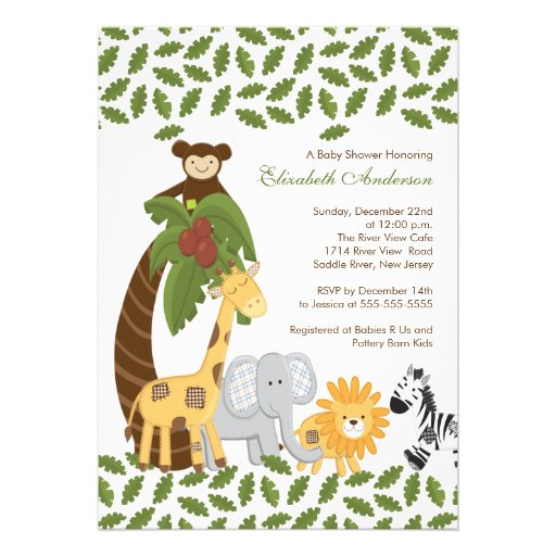 Jungle Safari Animal Neutral Baby Shower Custom Invites