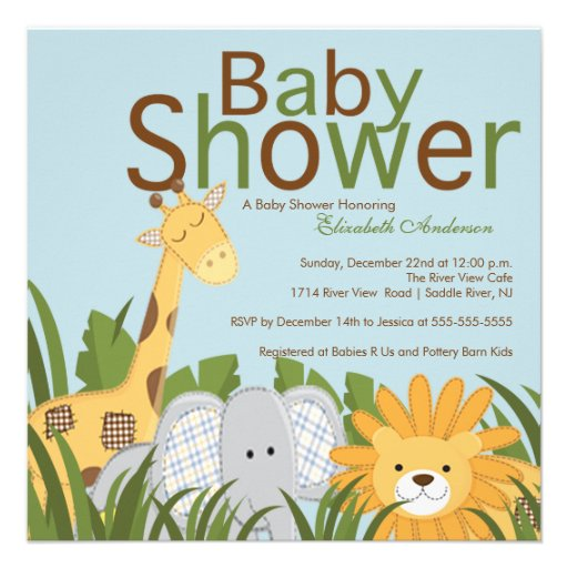 jungle safari animal neutral baby shower personalized announcements