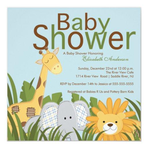 jungle safari animal neutral baby shower invitation zazzle