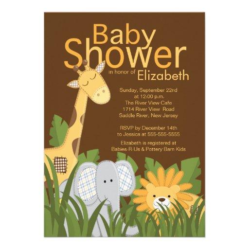 Jungle Safari Animal Neutral Baby Shower Personalized Invitations