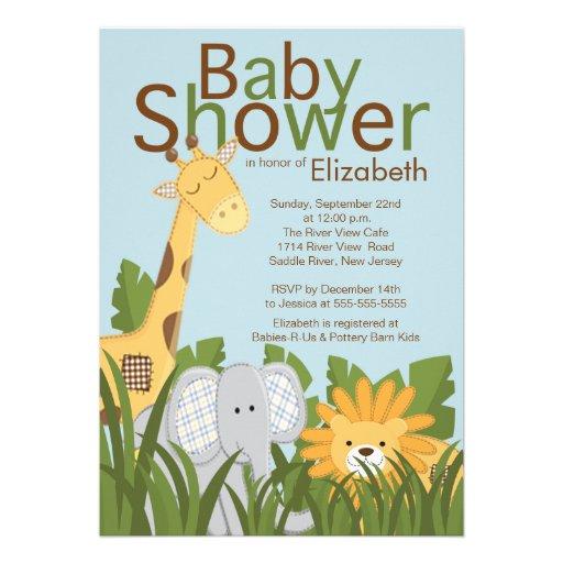 Jungle Safari Animal Neutral Baby Shower Invite