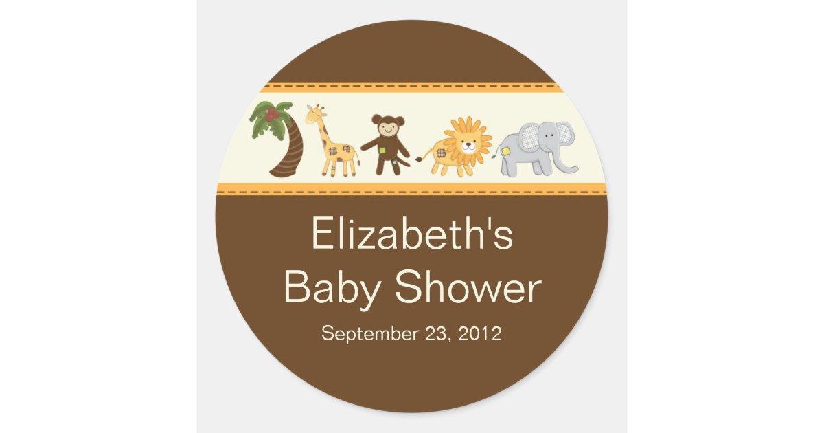 Jungle Safari Animal Neutral Baby Shower Round Stickers
