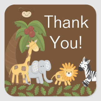 Jungle Safari Animal Neutral Baby Shower Sticker
