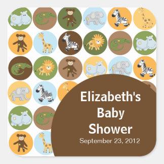 Jungle Safari Animal Neutral Baby Shower Square Sticker