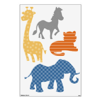 Jungle Safari Animal Shapes Wall Decal Set