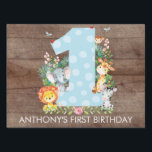 """Jungle Safari Animals 1ST BIRTHDAY Yard Sign<br><div class=""""desc"""">Cute jungle animals for a boys first birthday. Our cute jungle scene featuring a giraffe,  zebra,  lion,  elephant &amp; monkey framing a big one set on a faux brown wood background.. Matching items available in our shop.</div>"""