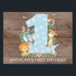 "Jungle Safari Animals 1ST BIRTHDAY Yard Sign<br><div class=""desc"">Cute jungle animals for a boys first birthday. Our cute jungle scene featuring a giraffe,  zebra,  lion,  elephant &amp; monkey framing a big one set on a faux brown wood background.. Matching items available in our shop.</div>"
