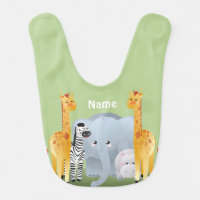 Jungle Safari Animals Baby Bib