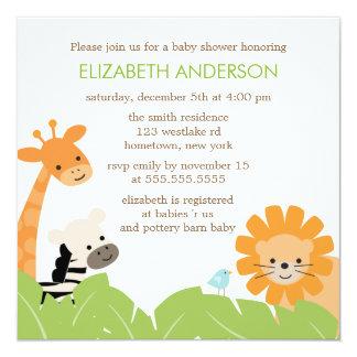 """Jungle Safari Animals Baby Shower 5.25"""" Square Invitation Card"""