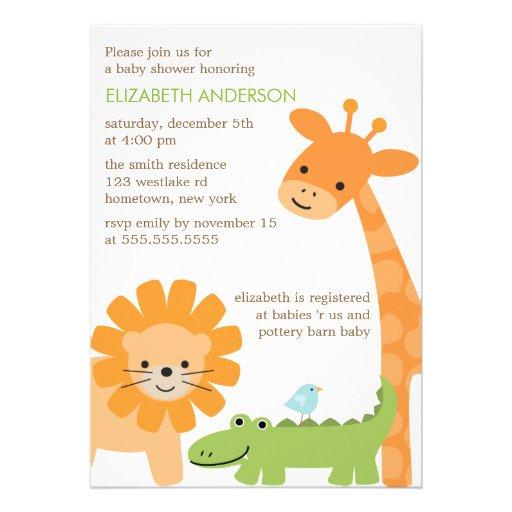 Jungle Safari Animals Baby Shower Personalized Invite