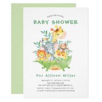 Jungle Safari Animals Baby Shower Invitations