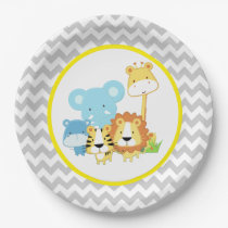 Jungle Safari Animals Baby Shower Paper Plate