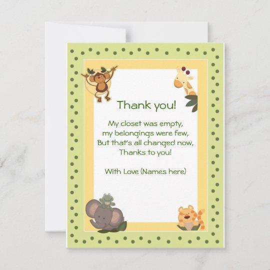 Jungle Safari Animals Baby Shower Thank You Notes Zazzle
