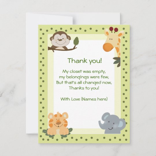 jungle safari animals baby shower thank you notes