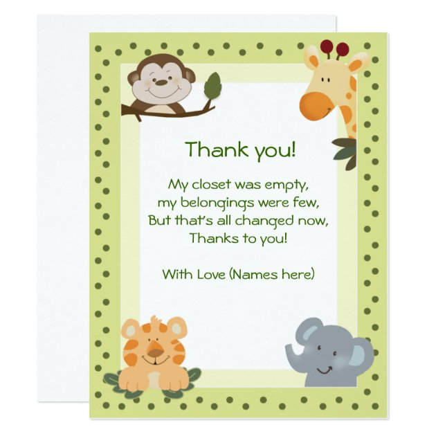 Jungle Safari Animals Baby Shower Thank You Notes Card