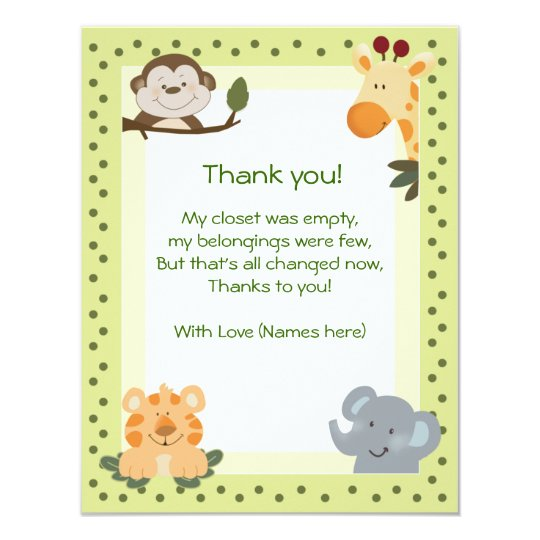 Perfect Jungle Safari Animals Baby Shower Thank You Notes Card