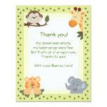 "Jungle Safari Animals Baby Shower Thank you notes 4.25"" X 5.5"" Invitation Card"