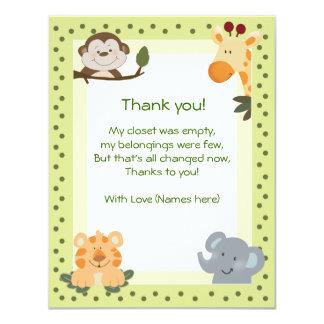 Jungle Safari Animals Baby Shower Thank you notes Custom Invitation