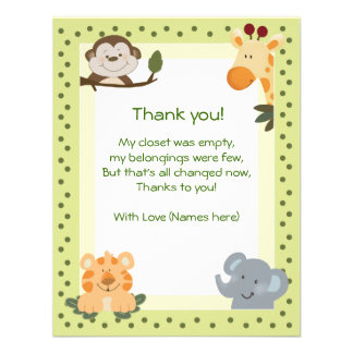 Jungle Safari Animals Baby Shower Thank you notes Personalized Invite