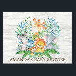 "Jungle Safari Animals Baby Shower Yard Sign<br><div class=""desc"">Cute jungle animals for a baby boy or girl shower. Our cute jungle scene featuring a giraffe,  zebra,  hippo,  lion,  elephant &amp; monkey set on a white wood background.. Matching items available in our shop.</div>"