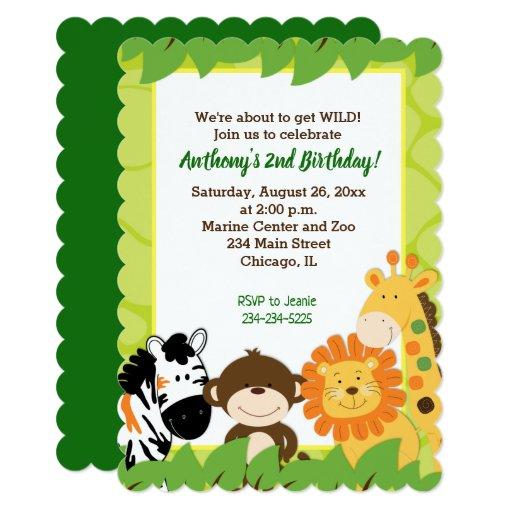 Jungle Safari Animals Boy Birthday Invitation