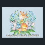 "Jungle Safari Animals Boys Baby Shower Yard Sign<br><div class=""desc"">Cute jungle animals for a baby boy shower. Our cute jungle scene featuring a giraffe,  zebra,  hippo,  lion,  elephant &amp; monkey set on a blue background.. Matching items available in our shop.</div>"