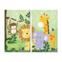 Jungle Safari Animals Canvas Prints (x2) Panels