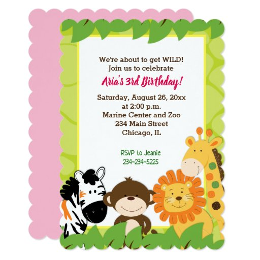 Jungle Safari Animals Girl Birthday Invitation