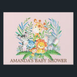 "Jungle Safari Animals Girls Baby Shower Yard Sign<br><div class=""desc"">Cute jungle animals for a baby girl shower. Our cute jungle scene featuring a giraffe,  zebra,  hippo,  lion,  elephant &amp; monkey set on a pinkbackground.. Matching items available in our shop.</div>"