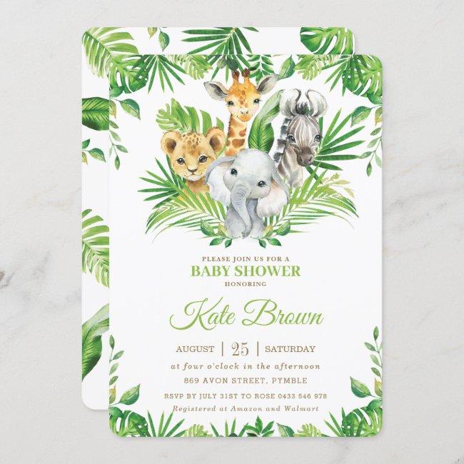 Jungle Safari Animals Greenery Nuetral Baby Shower Invitation