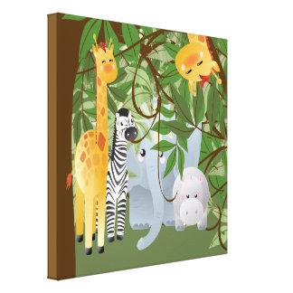 Jungle Safari Animals Kids Room Canvas Print Stretched Canvas Print