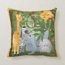 Jungle Safari Animals Kids Room Pillow