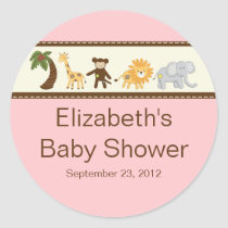 Jungle Safari Animals Pink Girl Baby Shower Classic Round Sticker