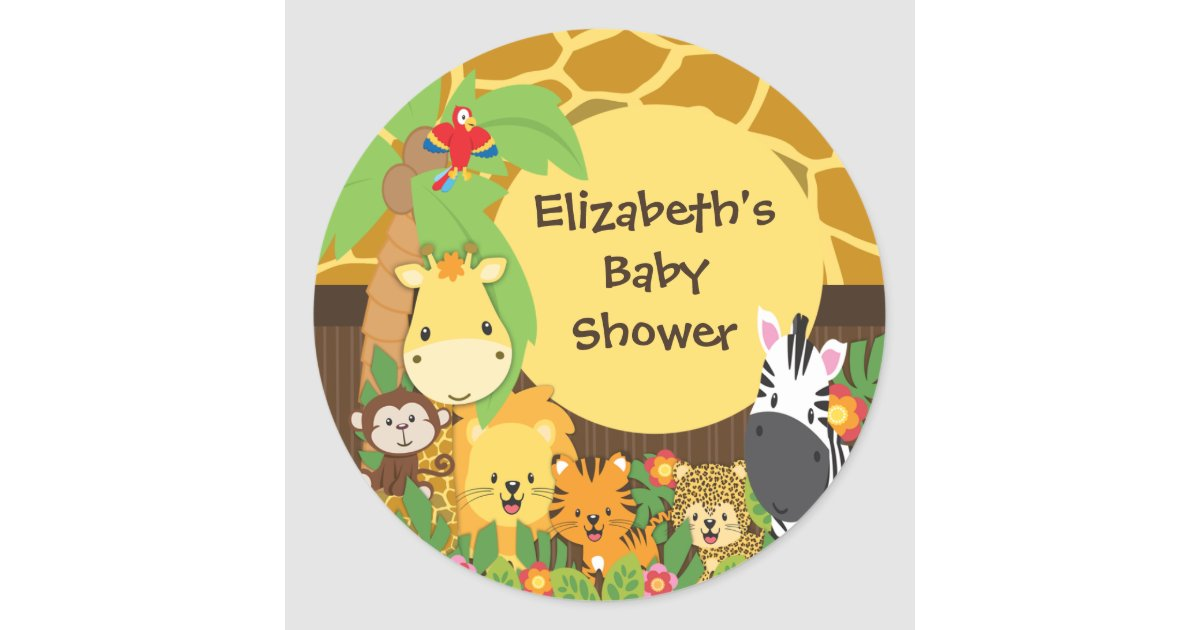 Jungle Safari Baby Animals Baby Shower Stickers Zazzle