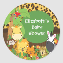 Jungle Safari Baby Animals Baby Shower Stickers