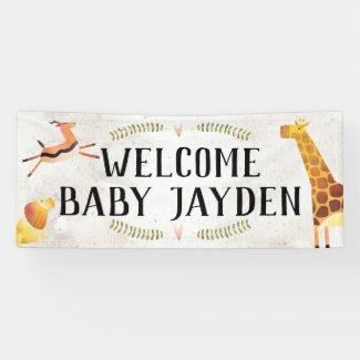 Jungle Safari Baby Shower Banner