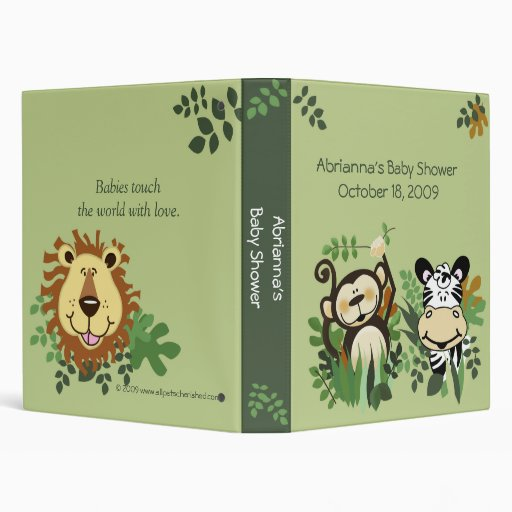 jungle safari baby shower brag book binder zazzle