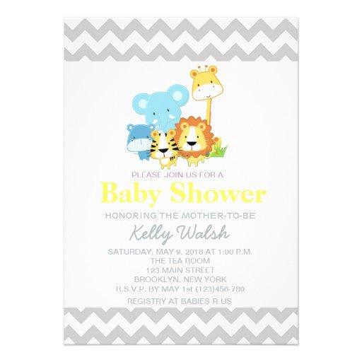 Jungle Safari Baby Shower Invitations Chevron