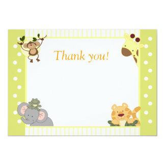 Jungle Safari Baby Shower Thank you notes Card