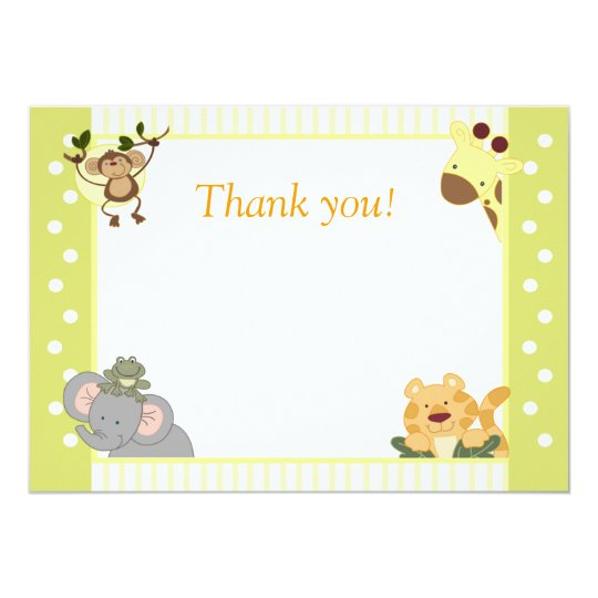 Jungle Safari Baby Shower Thank You Notes Card