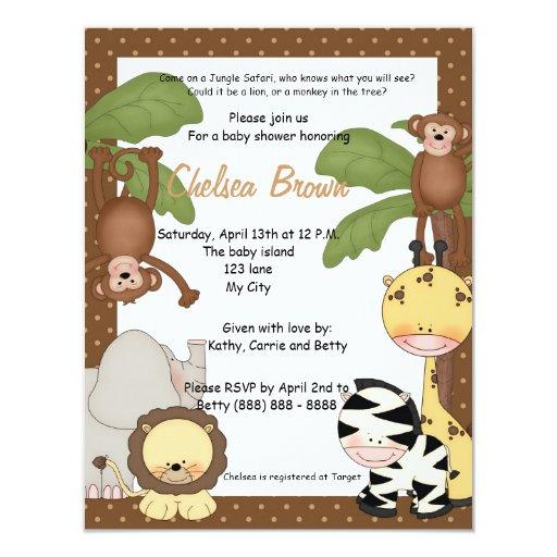 Safari Baby Shower Invitation: Jungle Safari Birthday Baby Shower Invitation