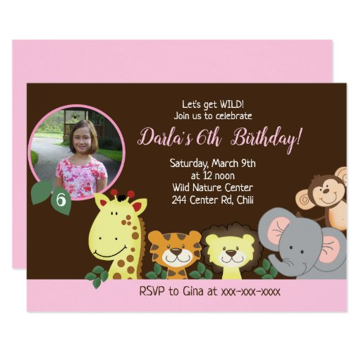 Jungle Safari Birthday Brown/Pink Girl Card