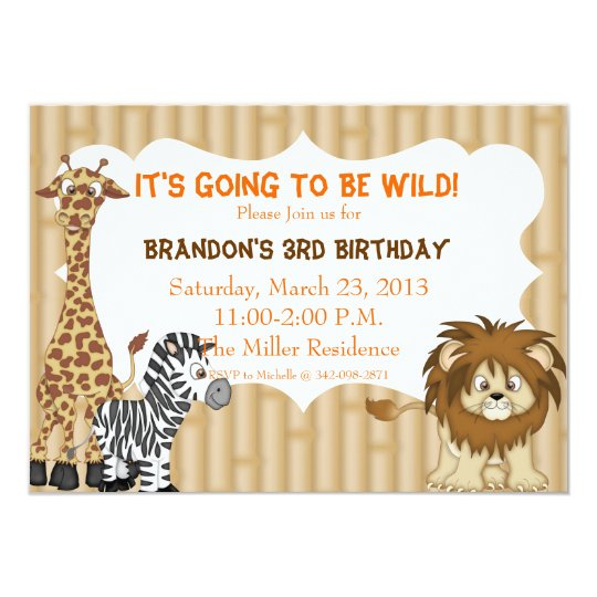 Jungle Safari Birthday Invitation