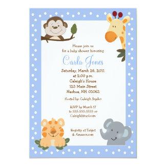 Jungle Safari (Blue) 5x7 Baby Shower Invitation