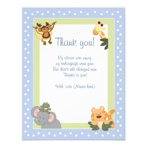 JUNGLE SAFARI Blue Thank you card flat Personalized Invite