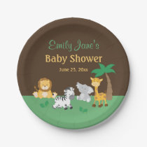 Jungle Safari Boy Baby Shower Paper Plate