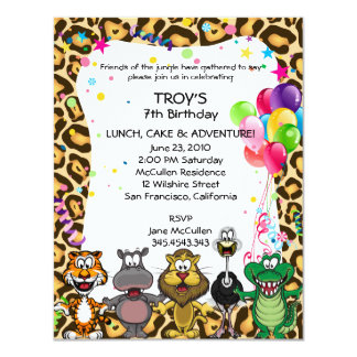 Jungle Safari Children's Birthday Party Invites