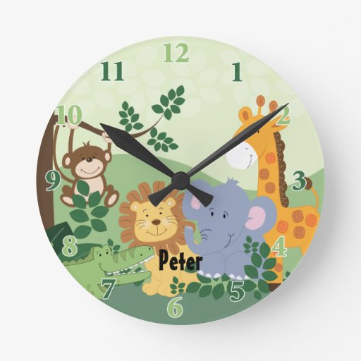 Jungle Safari Customizable Round Clock