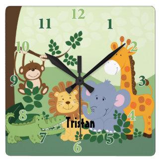Jungle Safari Customizable Square Clock