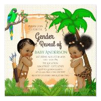 Jungle Safari Ethnic Gender Reveal Invitations